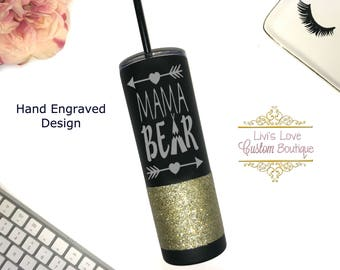 Mama Bear Tumbler Engraved Stainless Steel Water Bottle - Glitter dipped 20 oz Travel to go cup tumbler- Cups for Moms -  Straw Cups
