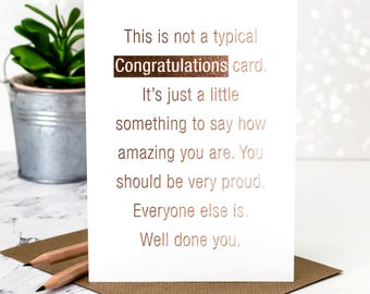 Rose Gold Congratulations Card; Pretty Foil Congratulations Card; Rose Gold Foil; Well Done Card; Congrats Card; GC378