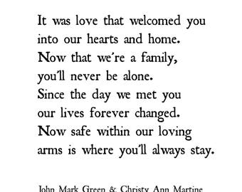 Adoption Gift - Print - Adopting Gifts - Poem Prints - Forever Changed Adoption Poem by John Mark Green and Christy Ann Martine