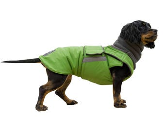 Winter Dog Coat with full belly cover and neck warmer - Custom made dog clothes - Waterproof / Fleece Dog Jacket - MADE TO ORDER