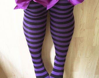 SALE Rhoda Purple & Black Stripy Bows Lingerie Thigh High Stockings