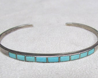 Zuni Style Sterling Silver Inlay Turquoise Cuff Bracelet