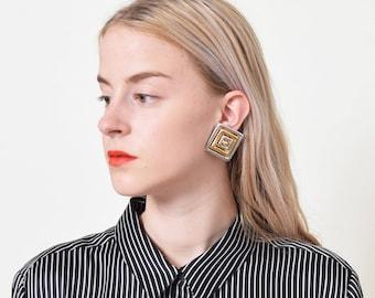 1980s Geometric Two Tone Earrings 80s Vintage Statement Earrings Clip Backs
