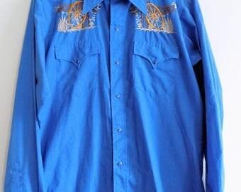 60s Wagon Wheel Button Down Cowboy Shirt by Rawhide Size 15 1/2 35