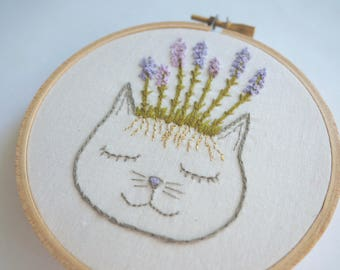 Lavender Cat Hoop Art or Patch | Embroidery
