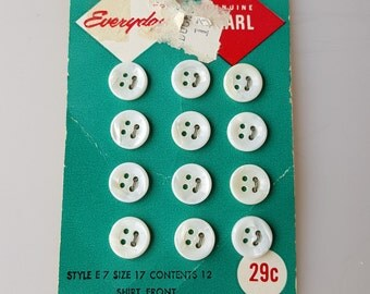 12 genuine pearl shell shirtfront buttons on original card 1950s vintage