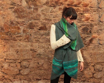Knit poncho, handwoven wrap, hoodie shawl, gray and green wool, knitted cape coat