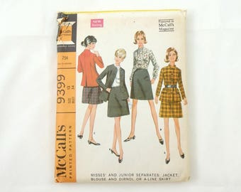 Vintage 60s Women's Separates Sewing Pattern, McCall's 9399, Clothing Pattern, Uncut Pattern, Womens  3 Piece Suit Pattern, Size 12 Bust 34