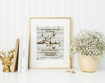 Golden Anniversary Gift For Parents | 50th Anniversary | Custom Canvas | From Kids | Family Tree Art - 55977