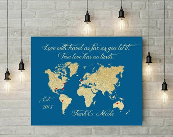 Long Distance World Map | Travel Map | Honey Moon Map | Anniversary Gift | Gift For Wife | Husband | Gift For Her | Valentines Day - 60577A