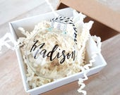 Personalized clear GLASS CHRISTMAS ORNAMENT Hand Lettered calligraphy - One (name only)