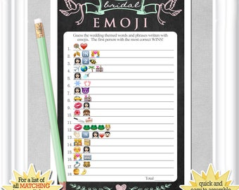 Bridal EMOJI Pictionary, Bridal Shower game with a vintage chalkboard background - mint & pink accents, ANSWERS included, diy Printable,11BR