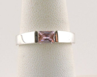 Size 7 Sterling Silver 1.5ct Radiant Cut Pink Cubic Zirconia Ring