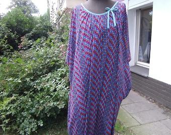 blue red Kaftan - Summerdress - Dress XXL - handmade Kleid - big Dress -Georgette Dress