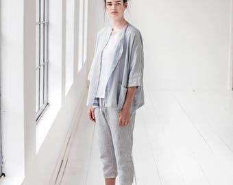 Washed oversized short linen kimono/cardigan/jacket in ice blue/silver grey