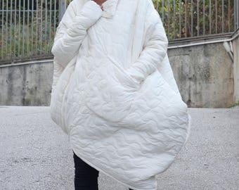 Warm Quilted Coat / Women's Coat / Fashion Coat / Winter Coat / Winter Jacket / Extravagant Coat / Asymmetric Coat by CARAMELfs T13716