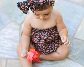 Watermelon Baby Head Wrap, Watermelon Headwrap, White Baby Headband, Baby Turban, Toddler HeadWrap, Girls Turban, Baby Bow Head wrap, 2244