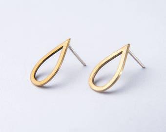 Bronze minimal earrings - geometric earrings - teardrop stud earrings !