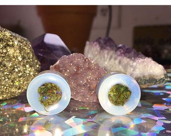 Healing Opal Cannabis Filled Plugs-Opalite Plugs-October Birthday-Opal Tunnels-Opal Jewelry-Unique Plugs-Gifts for Stoners-Weed Plugs
