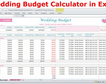 Wedding Budget Cost Calculator Excel Spreadsheet Template - Wedding On A Budget Planner Excel Wedding Expenses Worksheet - Digital Download