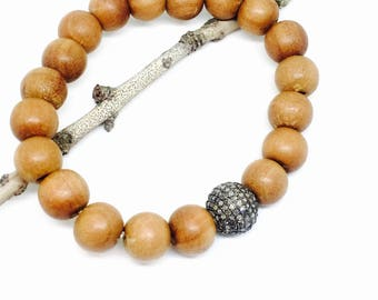 Sandalwood bead and Pave diamond bead, ball  stretch bracelet set in Sterling silver 925. 10mm. Natural authentic diamonds and sandalwood