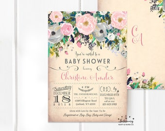 Pink Floral Baby Shower Invitation Blush Baby Shower Invitation, Girl Baby Shower Invitation Invite // Printable No.1353BABY