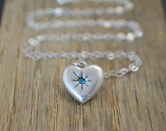 Mothers Necklace, Silver Heart Necklace, Blue Zircon Stone Necklace,Dainty Heart Necklace, Blue Zircons Mothers Necklace, December Necklace