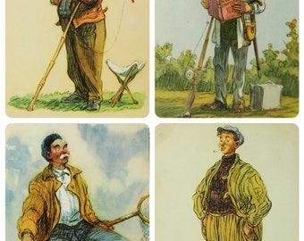 Fishermen - Illustrator I. Semenov - Set of 5 Vintage Soviet Postcards - 1956. Fisherman Angling Fishing Tackle Boat Fishing rod Print