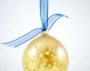 Textured Hand Blown Glass Ornaments- green or gold bumpy christmas balls, rough surface, translucent, sparkly, great unique holiday gift
