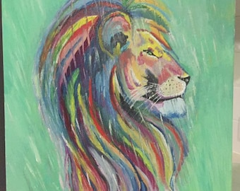 King of the jungle, oil painting, lion