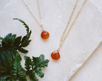 Tiny Carnelian Necklace - Small Carnelian Faceted Teardrop Necklace - Genuine Orange Carnelian Crystal Necklace - July Birthstone Necklace