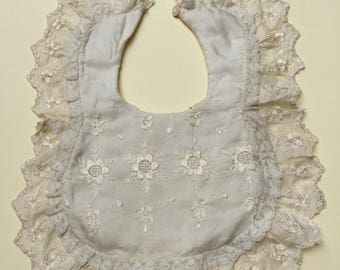 Delicate Vintage Silk Embroidered Baby/Doll Bib