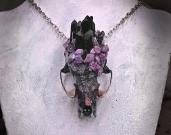 Bone Jewelry - Bone Necklace - Mink Skull Necklace - Taxidermy Jewelry -  Crystal Skull - Bone and Crystal - Oddities