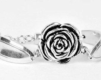 Spoon Bracelet for Mom , Rose Bracelet , Spoon Jewelry,  Charm Bracelet Statement Jewelry , Silverware Jewelry, Mother's Gift