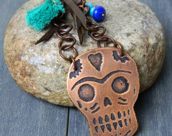 Etched Sugar Skull Copper Pendant & Deerskin Necklace