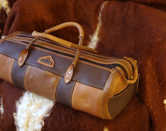 handcrafted leather duffel bag Brown made in France