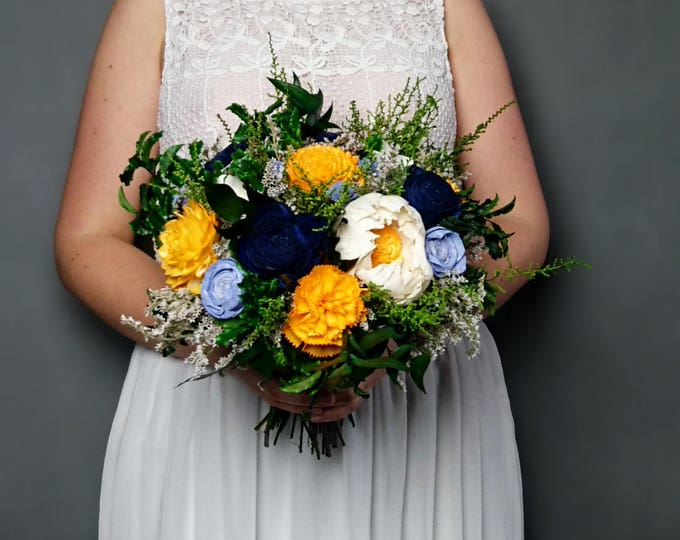 Sunny yellow navy blue and vibrant green wedding bouquet preserved greenery sola flowers dried flowers sola satin ribbon bridal summer