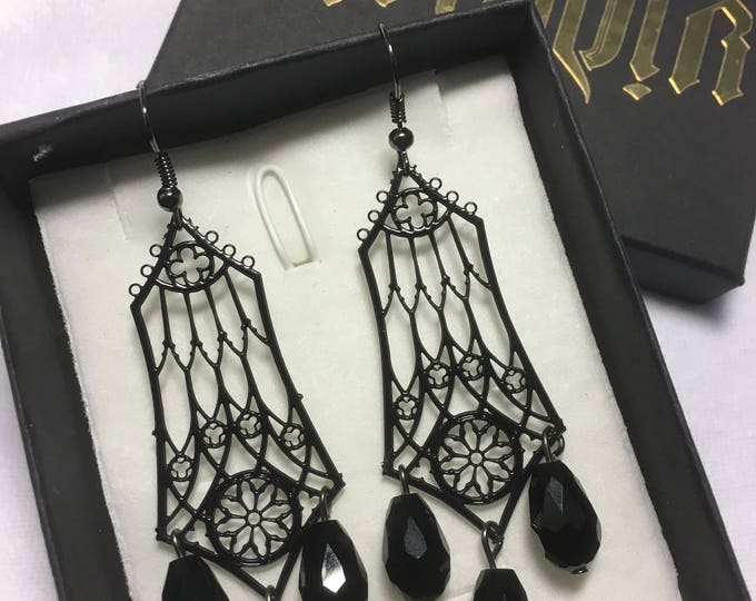 Earrings, Metal Filigree Jewelery , handmade in italy with glass bead necklace cathedral style