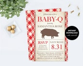 Baby Q Invitation PDF Template, Baby BBQ Invitation, Printable Couples Baby Shower, Digital pdf File, Baby Barbeque Editable Edit Baby bbq