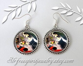 """Marc Chagall Earrings, Modern Artist, """"Birthday"""" Marc Chagall Painting, Photo Image Jewelry, Famous Artist, Gift for artist, gift for women"""