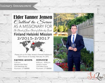 "LDS Missionary Farewell or Homecoming Announcement/Invitation with Photo - 5x7 Printable Card ""Called to Serve"" or ""Return with Honor"""