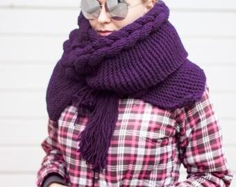 Hooded Scarf, Long Scarf, Hooded scarf, Christmas Gift, Wool cowl, Purple Hooded, Color selection Volume Hood by LoveKnittings