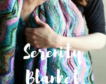 Serenity Blanket PATTERN, Knitting Pattern, INSTANT DOWNLOAD