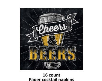 cheers and beers cocktail napkins, 30 years, 21st birthday, drinking party, black, beer glass, 30th, adult celebration, bachelor party