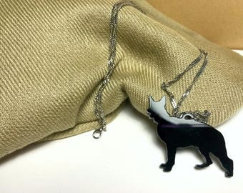 Black Acrylic German Sheperd Dog necklace, for small gifts