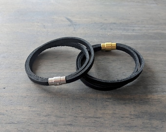 Glove Leather Bracelet- Black Double