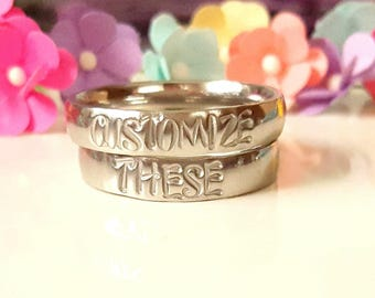 Stacking Rings, Stamped Rings, Personalized Rings, Couple Ring, Friendship Ring, Choose your text, Stainless Steel Ring, Customizable Ring