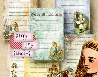 Alice in Wonderland Printable  Digital Paper  Lined  Journal  Digital Scrapbook  Wonderland  Junk Journal Kit  Printable Journal paper