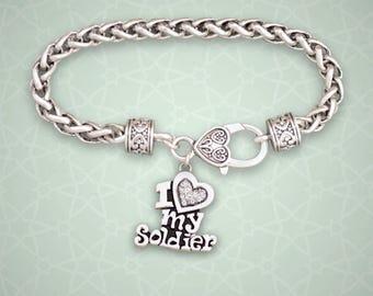 I Love My Soldier Rhinestone Charm Bracelet