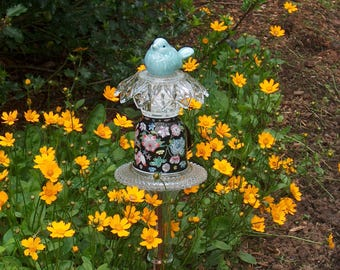 Cup Of Flowers Garden Stake